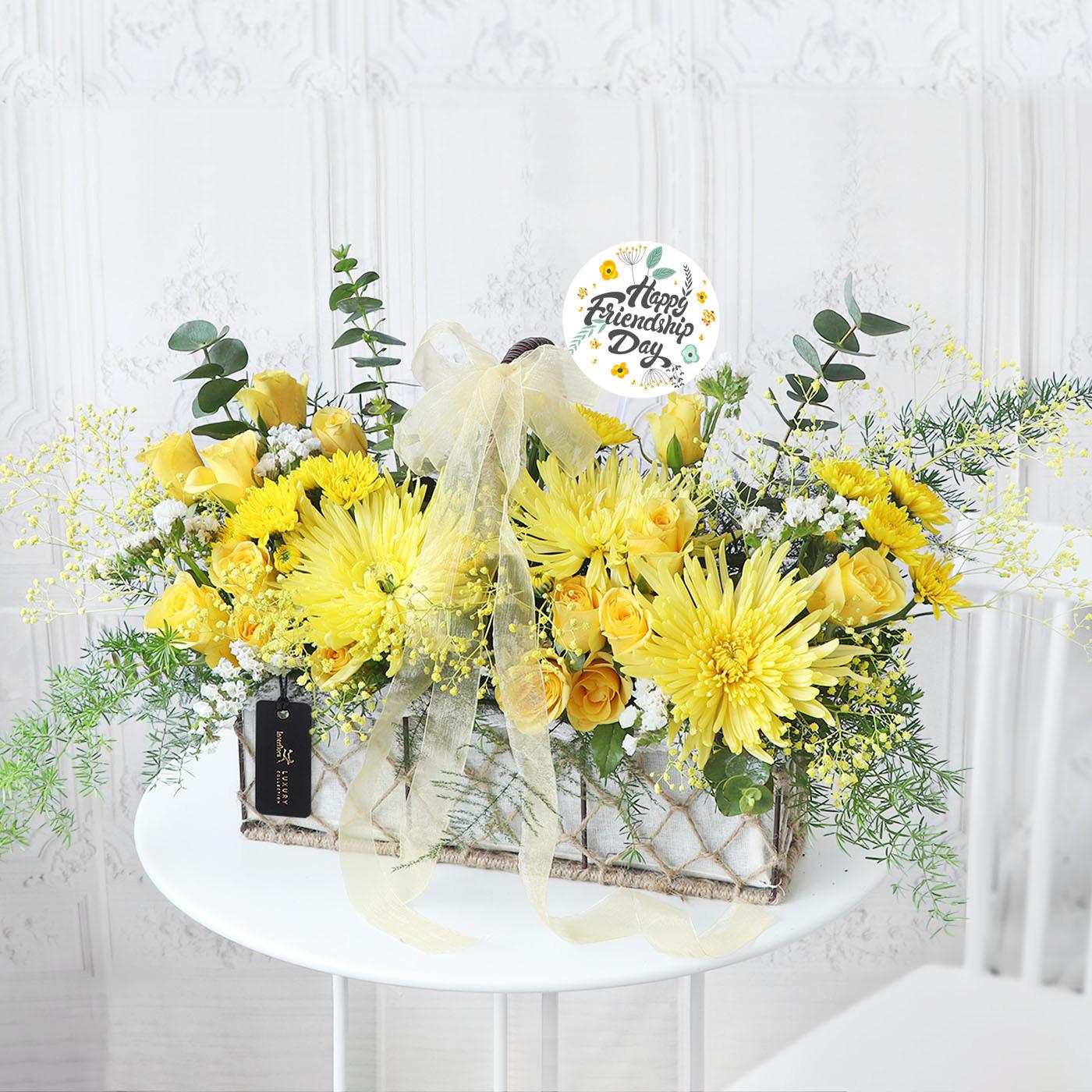 yellow friendship day arrangement